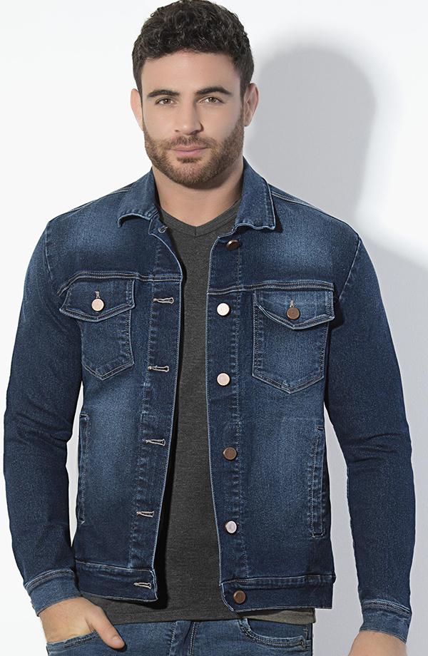 Sólido casual Slim chaqueta de mezclilla para hombre